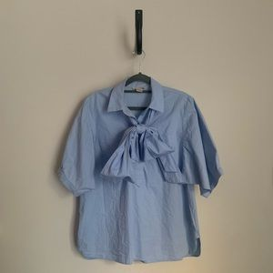 H&M Bow Short Sleeve Blouse with Tie Collar